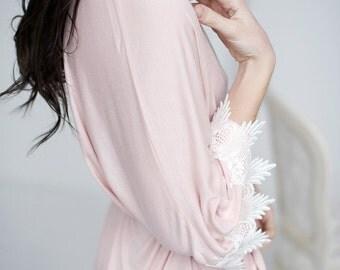 Short Robe, blush robe, bridal robe, lace robe, short lace robe - Stella