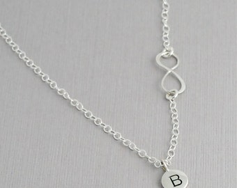 Sterling Silver Infinity necklace with initial charm