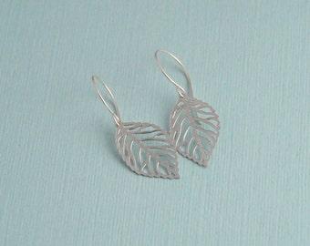 Silver matte leaf earrings