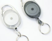 ID Badge Reel - Carabiner Style, White or Grey, YOUR CHOICE of Attachment