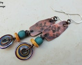Gypsy Tribal Boho Chic Copper and Glass Earrings, Colorful Primitive Stamped Copper and Lampwork Dangle Earrings