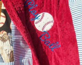 Play Ball Embroidered Patchwork Minky Baseball Blanket