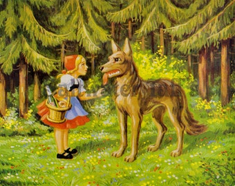 Fairy Tale Red Riding Hood Image Digital Download vintage image fabric transfer decoupage card rustic wolf forest papercraft scraps graphic