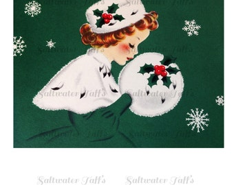 Christmas Girl in Green Image Digital Download vintage holiday xmas christmas card 1950s  snow bonnet muff ermine fur holly 1940s white cape