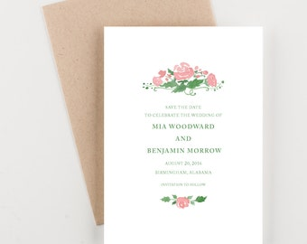 Preppy Watercolor Rose Save The Date, Wedding Announcement
