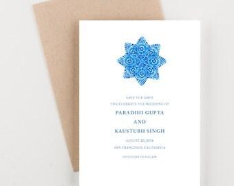 Indian Mandala Save The Date, Destination India, Bridal Shower, Wedding Invitation
