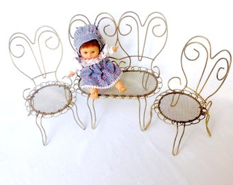 Vintage Doll Chairs 3 Piece Set Ice Cream Parlor