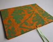 on sale! Portfolio/Folder with Hand-Printed Oak & Acorn Design, green on gold