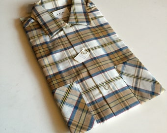 Mens NOS Plaid JCP Brown, Blue & Cream Button Shirt - Retro New Old Stock