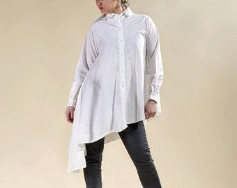 "Long white shirt, white tunic, dress white ""Lazarus"""