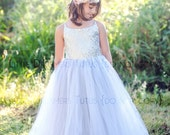 READY to SHIP - Size 7 - The Grace Dress in Silver Sequins - Flower Girl Dress