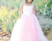 READY to SHIP - Size 7 - The Grace Dress in 'Rose Princess' - Flower Girl Tutu Dress