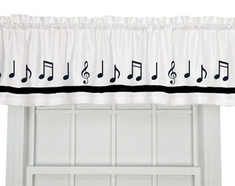 Musical Notes Window Valance Curtain - Your Choice of Colors