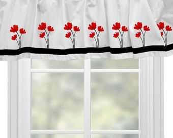 Poppies Poppy Flowers Window Valance / Treatment - Your Choice of Colors