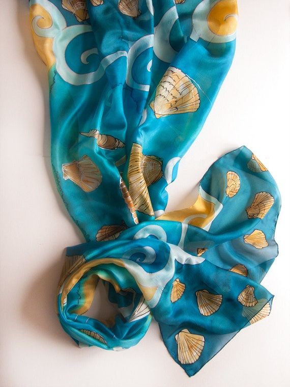 Blue Silk Shawl- Caribbean Breeze. Hand painted scarf/ Seashell shawl painted/ Summer fashion scarf/ Beach fashion/ Painted pareo