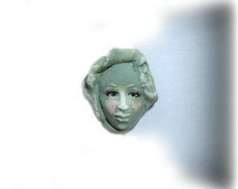 Focal bead,one of a kind bead, handmade face bead,  handmade clay bead     # 30