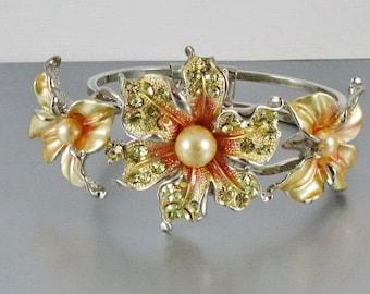 Hinged Clamper Bracelet, Rhinestones, Enamel, Pearls, Mid Modern 1980