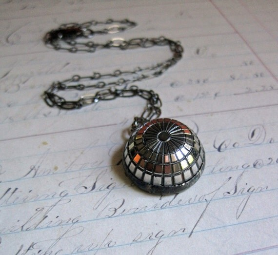 Domed Black Glass Button Necklace with Silver Finish Repurposed Jewelry Simple Pendant