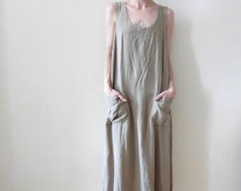 Beige Linen Maxi Dress