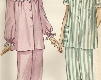 Vintage 40s Simplicity 2598 Misses Pajamas Sewing Pattern Size 20 Bust 38