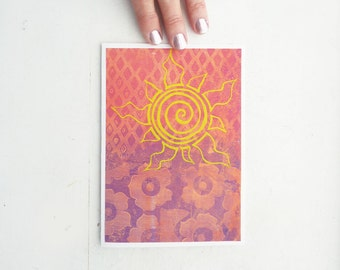 Painted and Silk Screened Greeting Card-  Spiral Sun with Pink and Purple