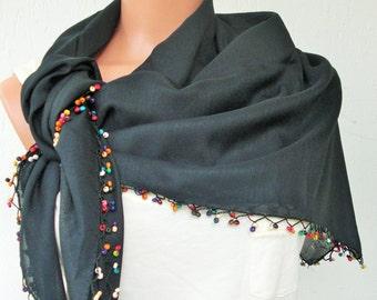 Summer Scarf , Black Boho Scarf ,Turkish Scarf - Yemeni Scarf - Traditional Scarf - Beaded   Scarf   Women Fashion  Accessories Gift Idea