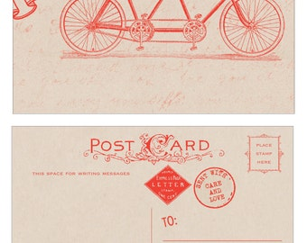 Just Married Tandem Bike Postcards choose color - Vintage Inspired - 10 pack