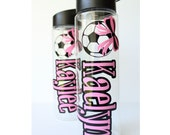 Personalized Soccer Water Bottle for Girls or Boys Back to School Basketball Softball Cheer Gymnastics