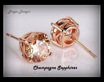 Gold Champagne Sapphire Earrings