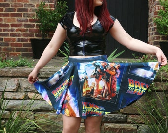 Back to the Future Skater Skirt ~ Handmade, Dr. Brown, Marty McFly, 80s, Delorean, Great Scott!