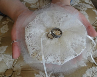 Ring bearer pillow Ivory lace and Silk wedding pet canine attendant bridesmaid ring bearer ivory