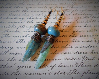 Raw Kyanite Assemblage Earrings Gold Plated Ear Wires