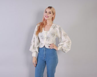 Vintage 70s Floral TOP / 1970s Semi Sheer Floral Print Cotton Puff Sleeve Crop Blouse xs - s