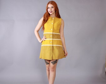60s SUEDE MINI DRESS / Vintage 1960s Mod Mustard & Olive Chevron Striped Hippie Leather Dress