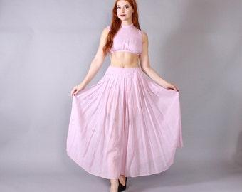 Vintage 70s Genie 2 PIECE / 1970s Pale Pink Cotton Gauze Crop Top & Palazzo Pants XS