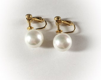 Vintage Faux Pearl Iridescent Pearl Earrings Screw Back Clip On Combo