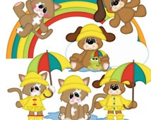 SVG Cutting Files-It's Raining Cats & Dogs SVG Cutting File/Paper Piecing Plus Clipart~Buy 2, Get 1 FREE