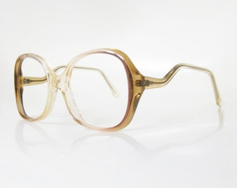 Vintage 1970s Yellow Sunshine Eyeglasses Glasses Optical Frames Sidewinder New Wave Avant Garde Womens Ladies Boho Chic Bohemian