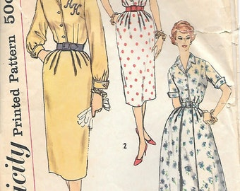 Simplicity 2462 1950 Half-Size Shirtwaist Dress with Two Skirts Vintage Sewing Pattern Size 16.5 Bust 37