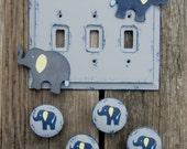 "ELEPHANT Kids Wood Knobs - Original Hand Painted 2"""