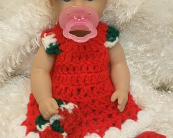 12 Inch Doll Clothes.Holiday Christmas Dress Set