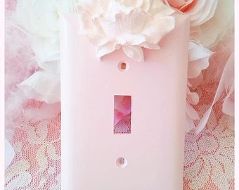 Shabby Pink Chic Rose Wall Plate, Single Toggle, Switchplate,  Color Choices,  Switch Plate