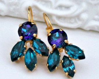 Sparkly Blue Green Crystal Earrings on Gold Leverback Earrings, Crystal Bridal Earrings
