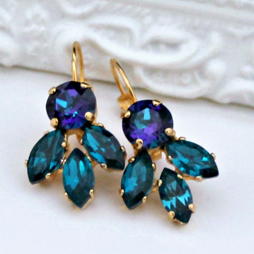 sparkly blue green earrings on gold leverback