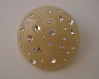 Large Round Lucite Inspired Rhinestone Brooch Vintage Retro Inspired 1950s 60s