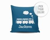 Train Pillow Cover, Nursery Train Pillow, Throw Pillow Cover, Train Throw Pillow, Train Nursery Pillow, Personalized Train Pillow Cover