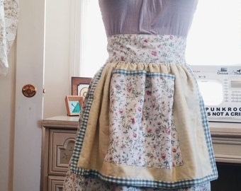 Darling Floral Dogwood Half-Apron Repurposed Vintage Fabric