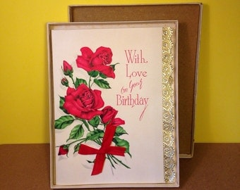 Vintage Birthday Card - With Love On Your Birthday - 1950s - Boxed