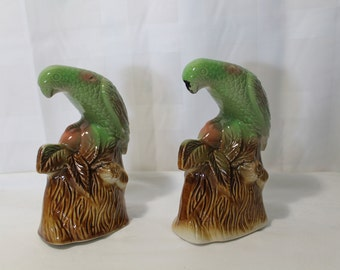 Set of 2 Vintage Parrot Figurines, Brazil