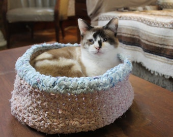 "The ""Sabrina,"" NEW Medium Cat Bed, Small Dog Bed, Hand Crocheted From Upcycled Bed Sheets"